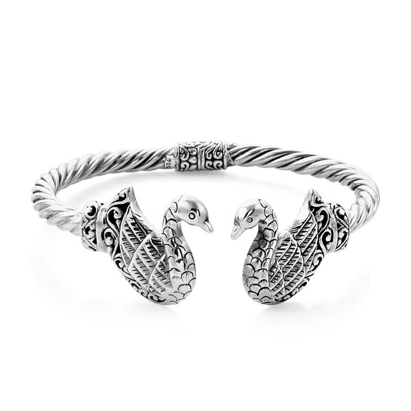 Royal Bali Collection Swan Cuff Bangle in Sterling Silver 40 Grams 7.25 Inch