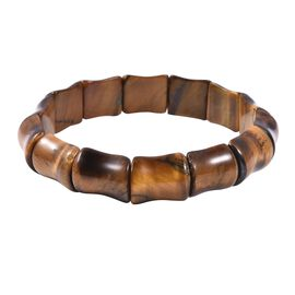 One Time Deal-Extremely Rare Shape Tiger Eye (Bamboo) Stretchable Bracelet 308.000 Ct.