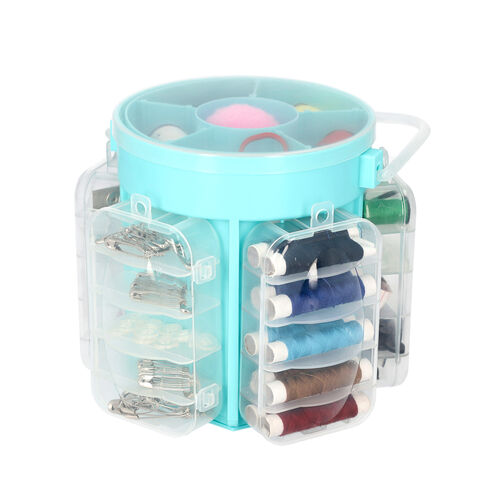 Deluxe Sewing Kit (Includes 5 Removable Storage Bins, 34 Assorted Threads, 45 Assorted Buttons, 5 Sn