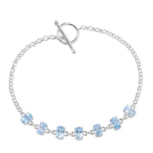 Sky Blue Topaz (Ovl) Bracelet (Size 7.5 Adjustable) in Sterling Silver   3.75 Ct, Silver wt 4.70 Gms