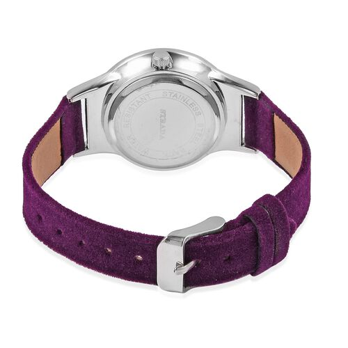 New Season-STRADA Japanese Movement White Austrian Crystal Studded Water Resistant Watch in Silver Tone with Purple Velvet Strap