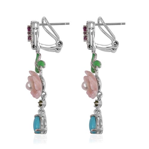 JARDIN COLLECTION - Pink Mother of Pearl, Arizona Sleeping Beauty Turquoise, Fresh Water White Pearl and Multi Gemstone Enameled Floral Earrings (with French Clip) in Rhodium Overlay Sterling Silver