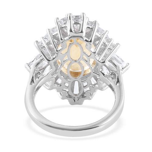 Brazilian Designer Inspired- Citrine (Ovl 14x10 mm 5.30 Ct), White Topaz Ring in Platinum Overlay Sterling Silver 8.500 Ct.