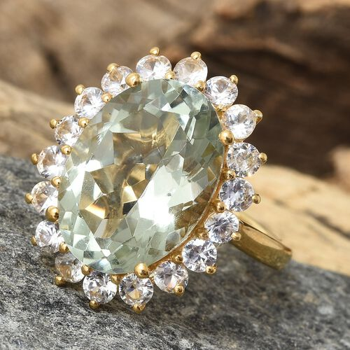 Green Amethyst (Ovl 11.00 Ct), Natural Cambodian Zircon Ring in 14K Gold Overlay Sterling Silver 13.500 Ct.