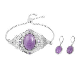 2 Piece Set - Amethyst and Purple Crystal Adjustable Bracelet (Size 6.5 - 9.5) and Lever Back Earrin