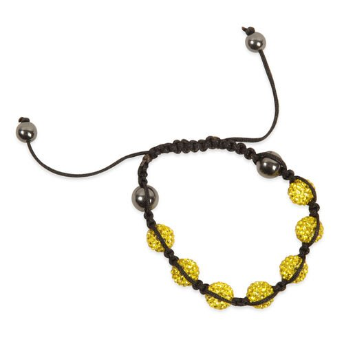 Yellow Austrian Crystal and Hematite Bracelet (Adjustable)