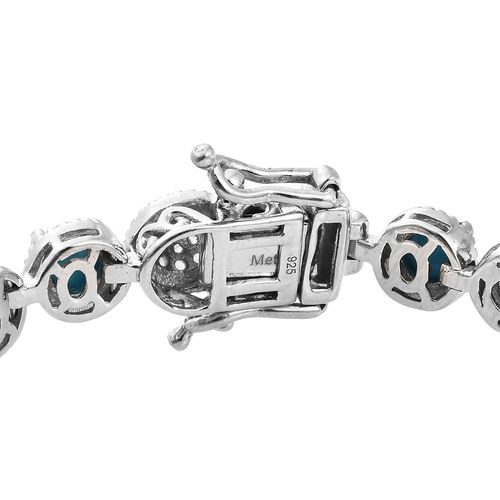 AAA Arizona Sleeping Beauty Turquoise (Rnd), Natural Cambodian Zircon Bracelet (Size 7) in Platinum Overlay Sterling Silver 10.500 Ct, Silver wt 14.18 Gms.