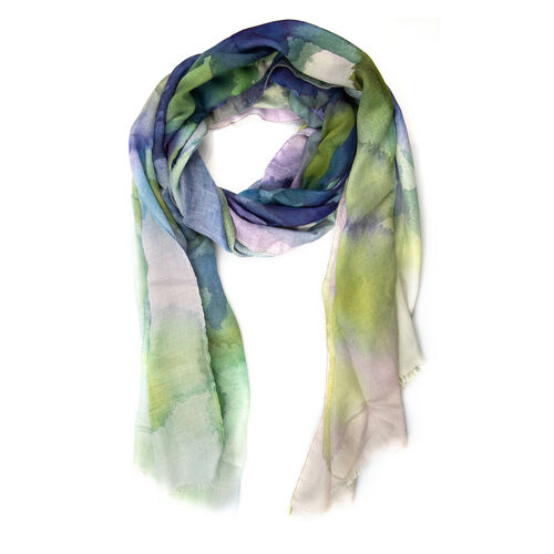 Designer Inspired-Blue, Green and Multi Colour Art Round Shape Colour Block Pattern Scarf (Size 170x75 Cm)