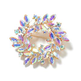 Magic Colour Simulated Diamond (Mrq), Magic Colour Austrian Crystal Flower Wreath Brooch in Yellow Gold Tone