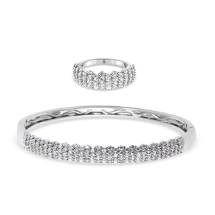 2 Piece Set -  Simulated Diamond Ring and Bangle (Size 6.5) in White Gold Tone