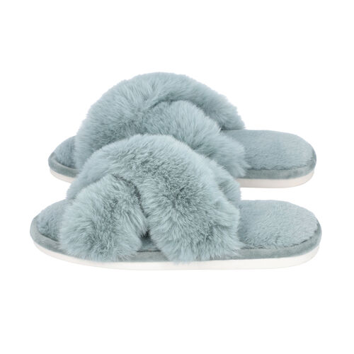 Super Soft Cross Band Faux Fur Slippers (Size M: 5-6) - Blue