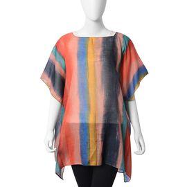 Multi Colour Stripe Pattern Poncho (Size 88x75 Cm)