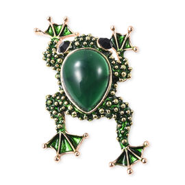Simulated Green Stone and Black Austrian Crystal Enamelled Frog Brooch in Gold Tone