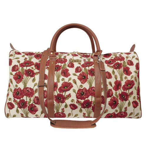 Signare Tapestry - 2 Piece Set - Poppy Travel Bag (56X29X33cm) and Sling Bag (56X29X33cm) in Beige