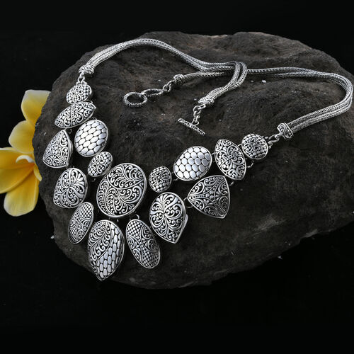 Limited Edition- Designer Inspired - Royal Bali Collection Oxidised Sterling Silver Multi Charm Necklace (Size 18), Silver wt 96.44 Gms.