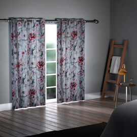 SERENITY NIGHT Set of 2 -  Flower Pattern Blackout Curtain with 8 Eyelets and LED Band (Size 140x240cm) - White & Multi