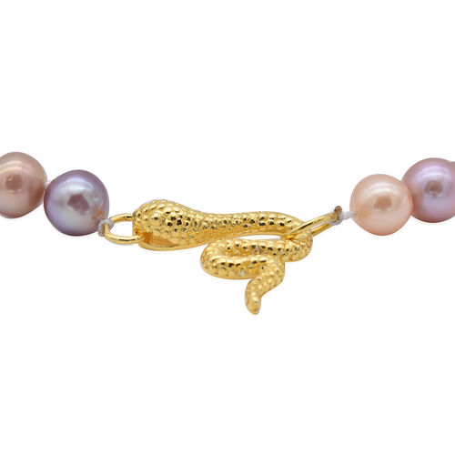 One Time Deal-Edison Pearl Serpent Necklace (Size 20) in Yellow Gold Overlay Sterling Silver