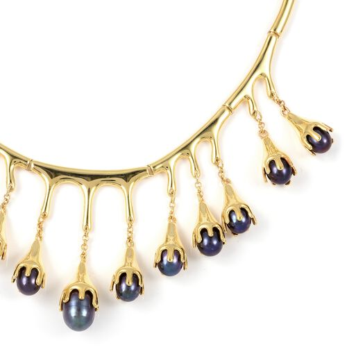 LucyQ Fresh Water Peacock Pearl (Pearl) Drip Necklace (Size 16 and 4 inch Extender) in Yellow Gold Overlay Sterling Silver. Silver wt 36.00 Gms
