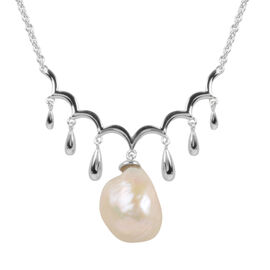 LucyQ - Baroque Freshwater Pearl Necklace (Size 20) in Rhodium Overlay Sterling Silver