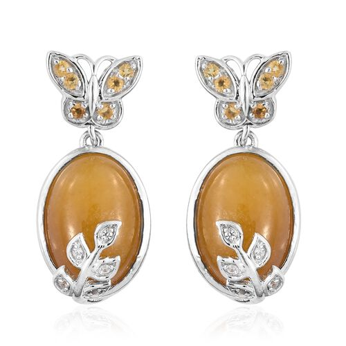 Yellow Jade (Ovl), Citrine and Natural Cambodian Zircon Nature Inspired Earrings (with Push Back) in