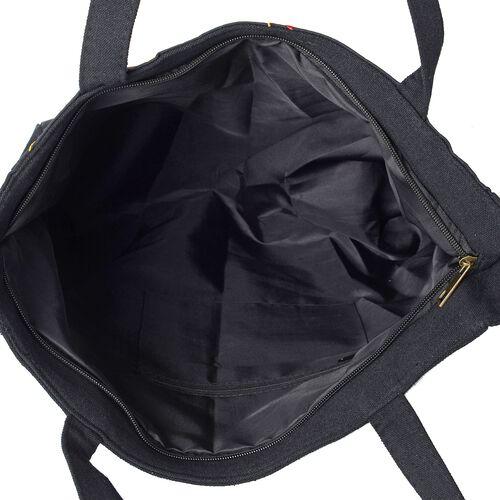 Shanghai Collection- Multi Colour Flower Pattern Tote Bag (Size 43x34x33.5x10 Cm) - Colour Black