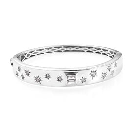 J Francis SWAROVSKI ZIRCONIA Star Design Bangle in Platinum Plated Silver 34.10 Grams 7.5 Inch