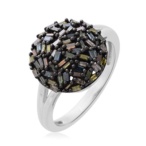 Firecracker Multi Colour Diamond (Bgt) Ring in Black and Platinum Overlay Sterling Silver 0.500 Ct.