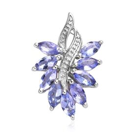 Tanzanite Cluster Pendant in Platinum Plated Sterling Silver 1.25 Ct.