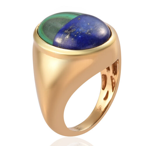GP - Malachite & Lapis, Blue Sapphire Ring in 14K Gold Overlay Sterling Silver 8.25 Ct, Silver wt. 6.00 Gms