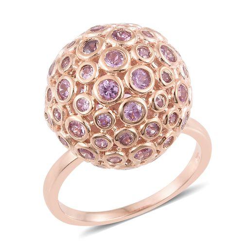 Designer Inspired- Bezel Set Pink Sapphire (Rnd) Cocktail Ring in Rose Gold Overlay Sterling Silver
