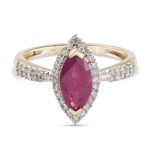 9K Yellow Gold Burmese Ruby and Diamond Halo Ring 1.430 Ct.