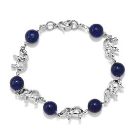 30 Ct Lapis Lazuli Elephant Bracelet in Platinum Plated 7.5 Inch