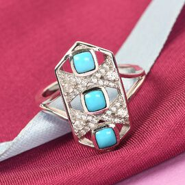 Arizona Sleeping Beauty Turquoise and Natural Cambodian Zircon Ring in Platinum Overlay Sterling Silver 1.430 Ct, Silver wt 5.12 Gms