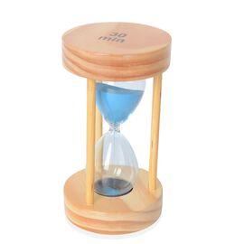 Home Decor - MDF Wood and Glass Round Shape 30 Min Hourglass with Purple Sand (Size 18x9.5 Cm) - Woo