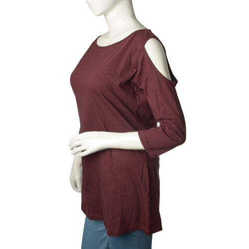 New for Season - 100% Cotton Burgundy Colour Cutout Shoulder Top (Size 75X55 Cm)