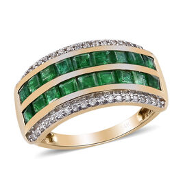 2 Carat Premium Emerald and Natural Cambodian Zircon Eternity Ring in 14K Gold 4.19 Grams