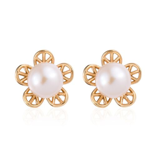 Fresh Water Pearl (5.00 Ct) 14K Gold Overlay Sterling Silver Earring  5.000  Ct.