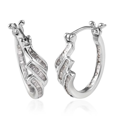 0.50 Ct Diamond Hoop Earrings in Platinum Plated Sterling Silver with Clasp