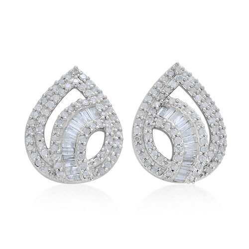 9K White Gold SGL Certified Diamond (Bgt) (I3/G-H) Stud Earrings (with Push Back) 1.000 Ct. Number of Diamonds 168