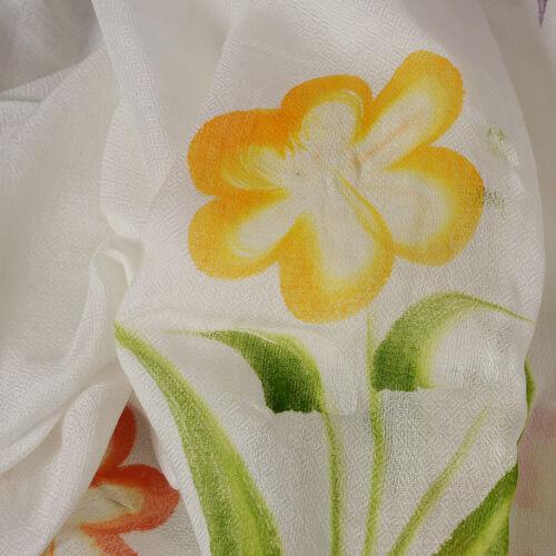 White, Yellow and Multicolour Beach Tree Pattern Kaftan (Free Size)