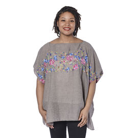 Super Soft Warm Grey Kaftan Top with Multi Colour Embroidery (UK Size - up to 20)