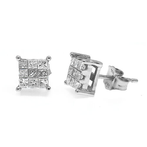 9K W Gold Diamond (Princess Cut) Stud Earrings 0.500 Ct.