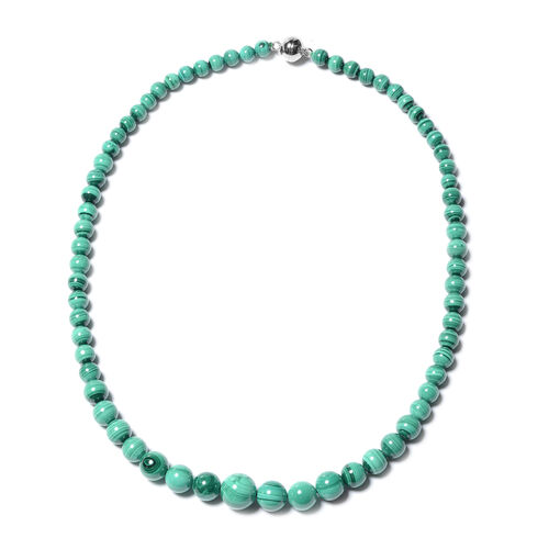 Malachite Beaded Necklace in Rhodium Plated Sterling Silver 20 Inch