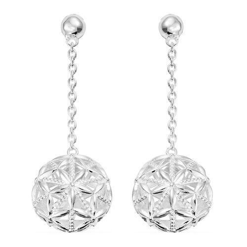 Designer Inspired-Sterling Silver Dangle Earrings (with Push Back), Silver wt 7.20 Gms.
