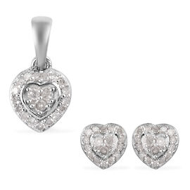 2 Piece Set -  Diamond Heart Pendant and Stud Earrings (with Push Back) in Platinum Overlay Sterling