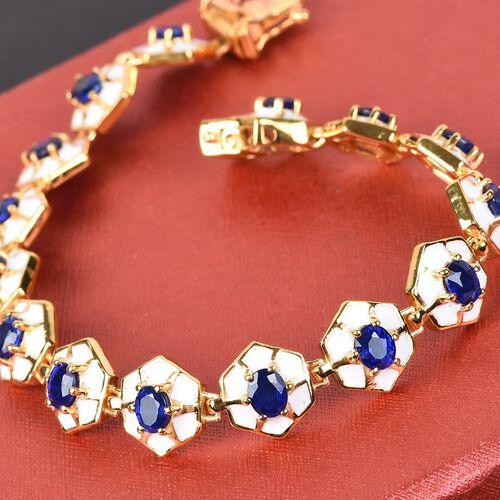 Tanzanian Blue Spinel Enamelled Bracelet (Size 7.5) in 14K Gold Overlay Sterling Silver 6.00 Ct, Silver wt. 18.00 Gms