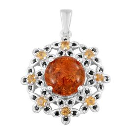 Baltic Amber (Rnd 1.50 Ct), Boi Ploi Black Spinel and Citrine Flower Pendant in Platinum Overlay Sterling Silver 2.250 Ct.