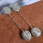 5 Ct Polki Diamond Dangle Earrings in Platinum Plated Sterling Silver 10.19 Grams