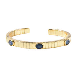 GP Australian Boulder Opal and Blue Sapphire Bangle (Size 7.5) in Yellow Gold Overlay Sterling Silve