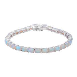 Ethiopian Welo Opal (Cush) Bracelet (Size 7.5) in Rhodium Overlay Sterling Silver 11.69 Ct, Silver w